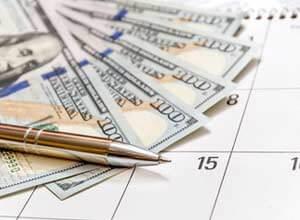 money on calendar