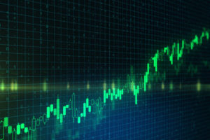 Trading concept with bright green graphs going up at abstract binary code background. 3D Rendering