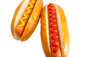 14724022 - hot dogs or wieners with mustard and ketchup toppings, the original classic take away food