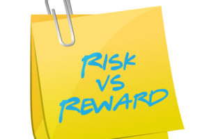 risk vs reward post illustration design over a white background