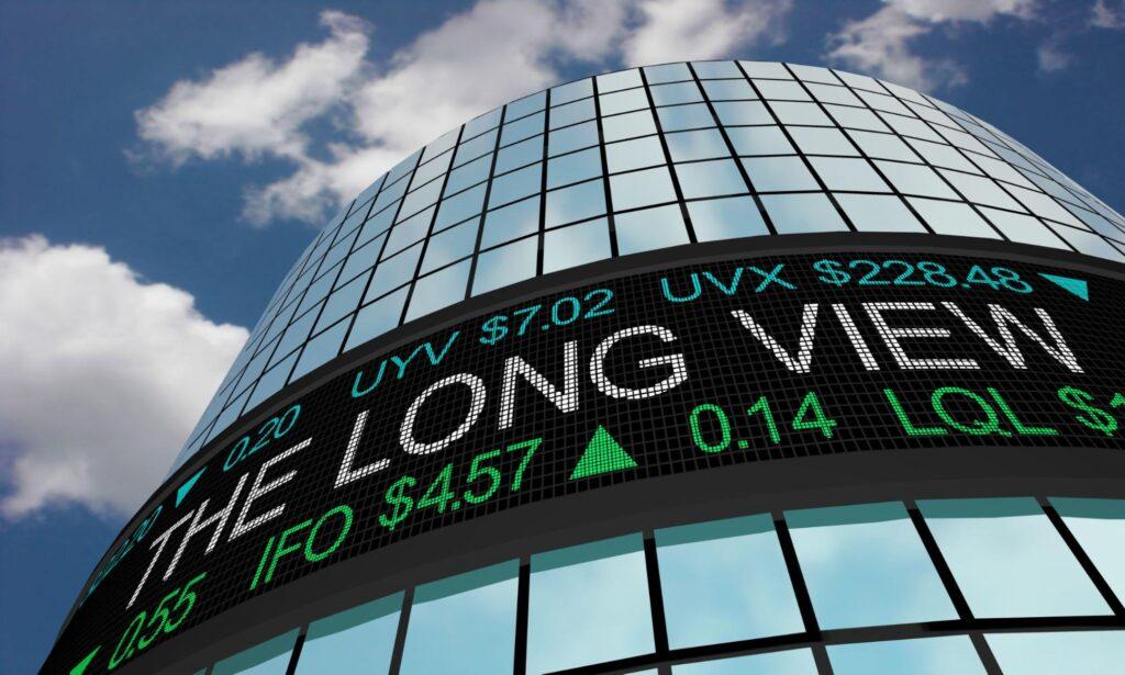 long term stocks: Stock ticker on a building