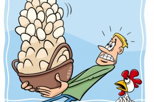 Cartoon Humor Concept Illustration of Dont Put All your Eggs in One Basket Saying or Proverb
