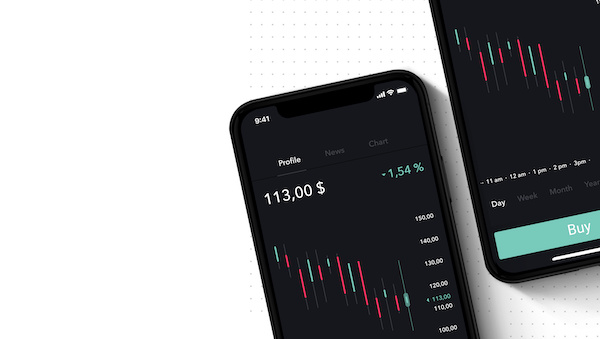 how to trade options on Robinhood: Two phones with a mobile trading app on the screen