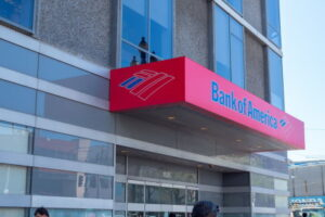 SAN FRANCISCO, CA - April 2, 2018: Bank of America location in San Francisco. Company logo and font