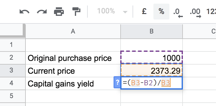 formula for getting the capital gains yield in spreadsheet