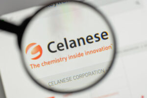 Milan, Italy - August 10, 2017: Celanese  logo on the website homepage.
