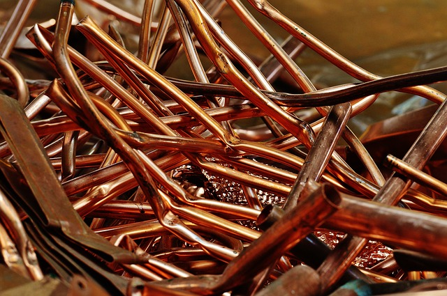 Pile of bent copper tubes for recycling