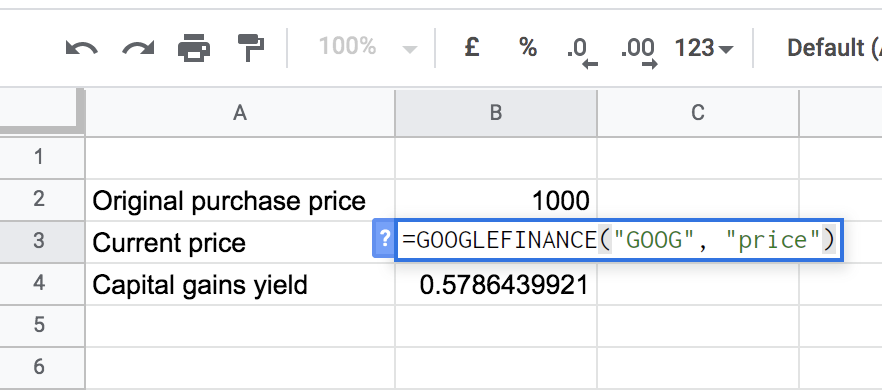 formula for getting the current price in spreadsheet