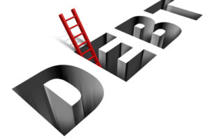 Financial recovery and getting out of poverty with the word debt as a sinking hole in the ground and a red ladder as a helpful solution and answer to the finance and business problems on a white background.