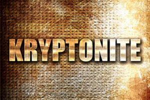 kryptonite, 3D rendering, metal text on rust background