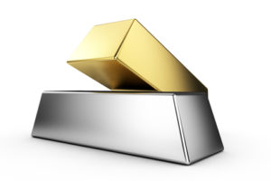 Pyramid from Golden and Silver Bars on white background 3d render