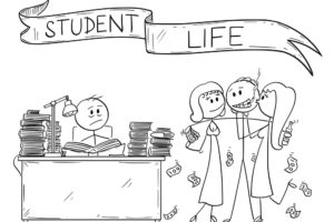 Cartoon stick drawing conceptual illustration of two students, one of them is learning from books and second one is partying with girls and alcohol. Illustration of student life.