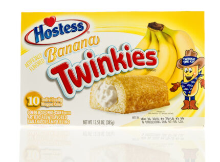 Box of Hostess banana twinkies on an isolated background.