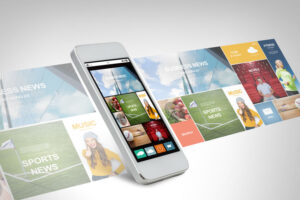 technology, business, electronics, internet  and media concept - white smarthphone with news web page and application icons on screen