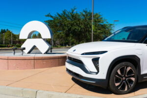 NIO ES6 electric SUV semi-autonomous car on display near Chinese automobile manufacturer NIO software development office in Silicon Valley - San Jose, California, USA - 2019