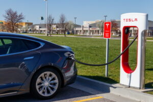 Lafayette - Circa April 2018: Tesla Supercharger Station. The Supercharger offers fast recharging of the Model S and Model X electric vehicles II