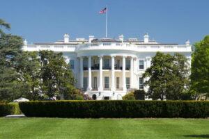 White House on deep blue sky background