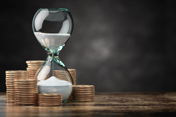 income stock: coins and hourglass