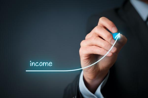income stock: man writing income
