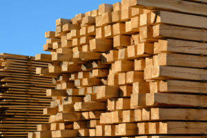 44652946 - wooden boards stacked at the timber yard