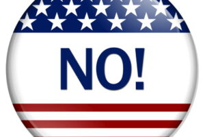 Just say No Button , A white button red stripes and stars with word No isolated on a white background
