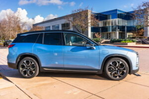 Dec 14, 2019 San Jose / CA / USA - NIO ES8 electric SUV displayed in front of NIO headquarters; NIO is a Chinese automobile manufacturer specializing in developing electric autonomous vehicles