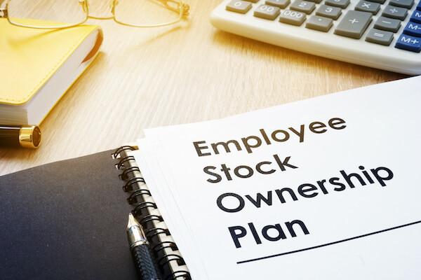employee stock ownership plan written on notebook