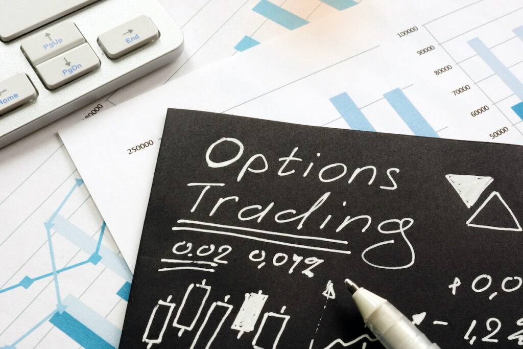 what is options trading: options trading written on a black paper