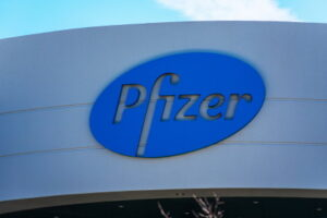 Pfizer logo on pharmaceutical corporation campus in Silicon Valley - South San Francisco, CA, USA - 2020