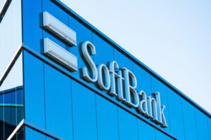 SoftBank sign at Silicon Valley SoftBank Vision Fund headquarters. SoftBank Group Corporation is a Japanese multinational conglomerate holding company - San Carlos, CA, USA - 2019