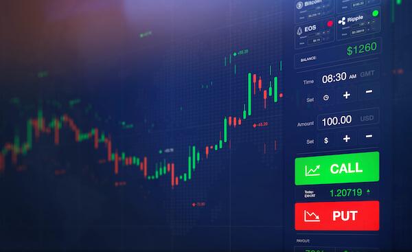 put vs call: stock exchange screen