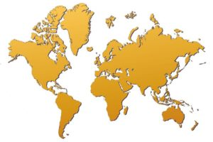 2783428 - world map filled with orange gradient. mercator projection.